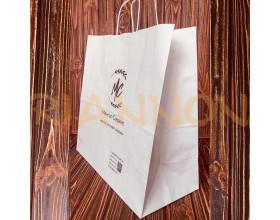 Пакети з крученою ручкою з білого крафту